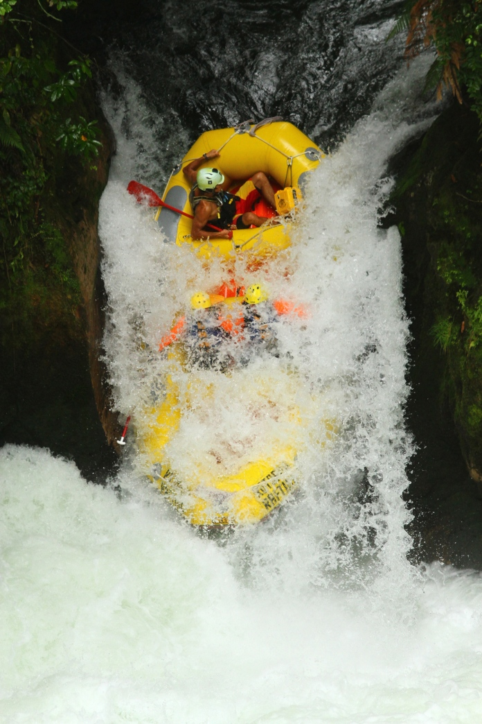Kaituna Rapids, North Island New Zealand.  Bronwyn and Roy are in the front seat!