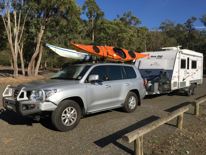 Landcruiser 200, New Age Big Red caravan, Tiderace Xcite-s kayak, Valley Gemini ST kayak, Cannondale road tandem bicycle.