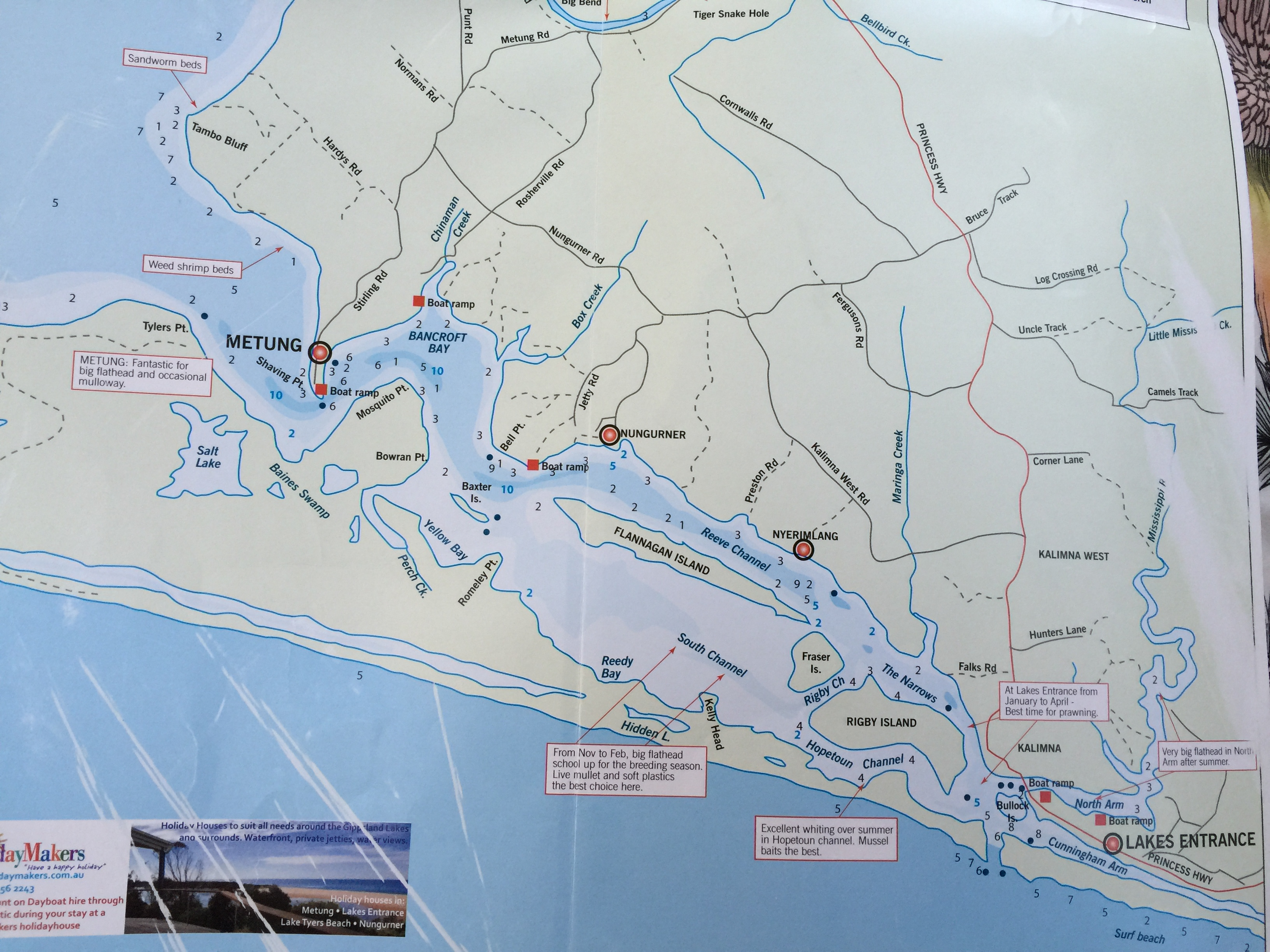 Map of Lakes Entrance March 2015