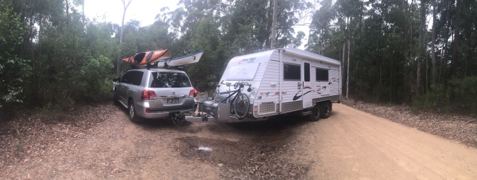 Reversing our caravan sharply out of overnight camp, Termeil State Forest.