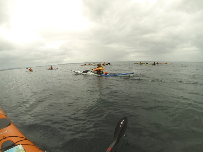 Kayaks paddling south in Jervis Bay towards Longnose Point