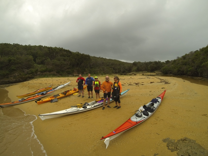 Kayakers resting at