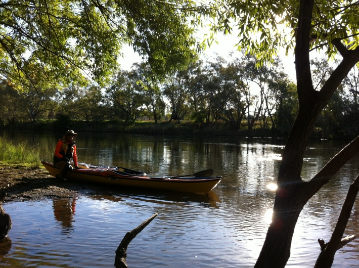 Bronwyn with kayaks on the Murray River bank near Noreuil Park, Albury.   The sun is sparkling on the water.