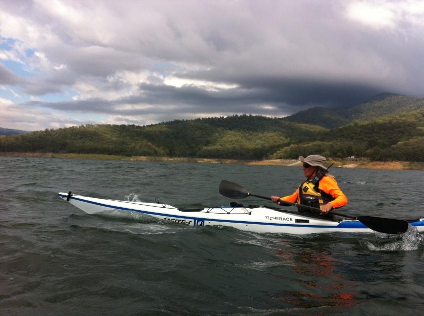Bronwyn battling into a stiff headwind on Dartmouth Dam.