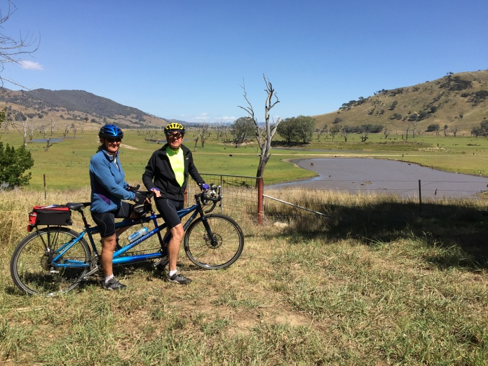 Bronwyn and Roy on their Cannondale road tandem bicycle approaching Old Tallangatta.