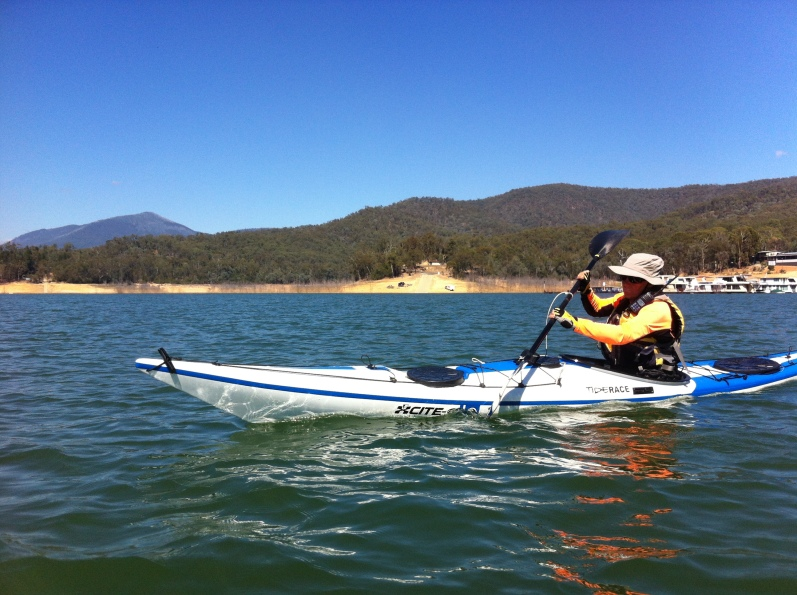 Bronwyn kayaking away from Jerusalem Creek boat ramp, Lake Eildon.